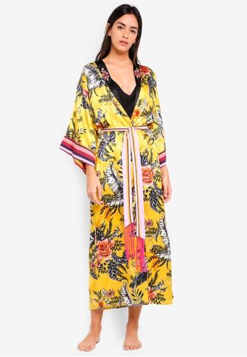 River Island yellow Floral Maxi Kimono Robe 7D3F9AA73046F2GS_1