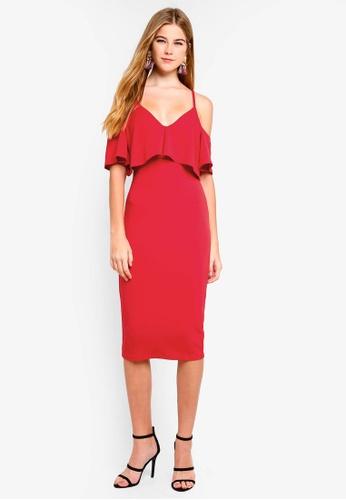 MISSGUIDED 紅色 素色挖肩褶飾洋裝 A0168AABE494C6GS_1