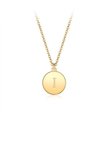 Glamorousky silver Fashion Simple Plated Gold Letter I Round Pendant with Necklace 3C149AC0698191GS_1