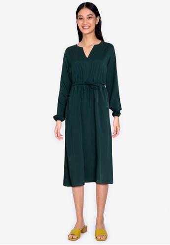 ZALORA BASICS green Long Sleeve Midi Dress 528DCAAAEFCD82GS_1