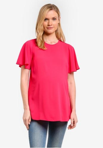 Dorothy Perkins pink Maternity Spot Flutter Top DO816AA0RPH3MY_1