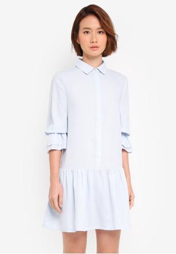 ZALORA blue Shirt Dress With Puff Sleeves 54505AA34AA6E7GS_1