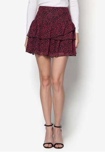 Jokozalora鞋子評價 不對稱層次印花短裙, 服飾, 服飾