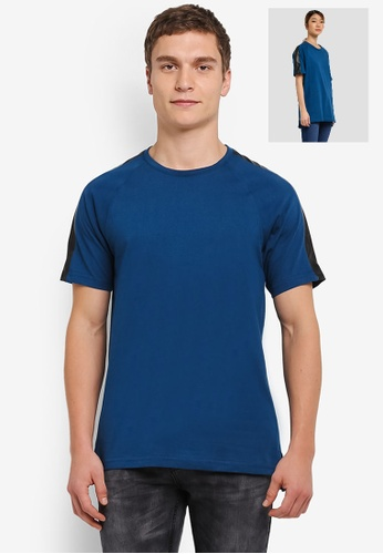 UniqTee blue Contrast Shoulder Patch Short Sleeve Tee UN097AA0SHD2MY_1