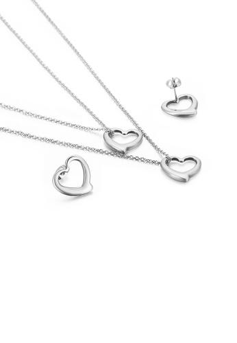 Glamorousky 銀色 簡約時尚鏤空心形316L鋼雙層項鏈和耳釘套裝 660B9ACAE35185GS_1