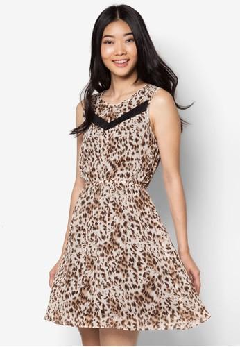 蕾絲拼接印花洋裝, 服飾esprit outlet 台中, 短洋裝