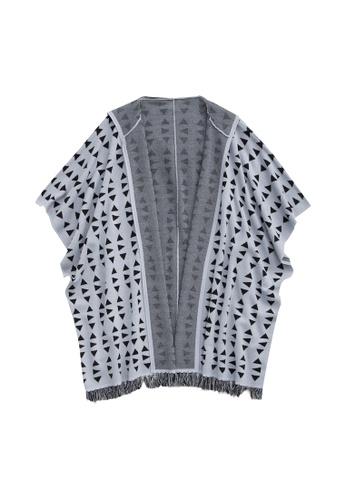 KLAPS grey Merino Patterned Fringe Cape CEEA3AA086922DGS_1
