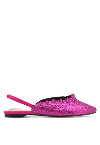 Velvet pink Ruffle Ballet Flats 48119SH0D09A31GS_1