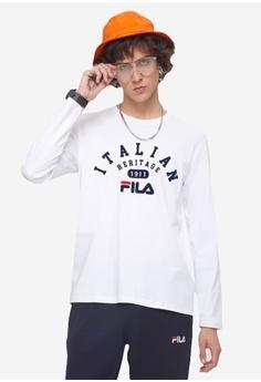 dcc072a60 Fila white Originale Long Sleeve Cotton T-shirt 46ACEAA4B00302GS 1