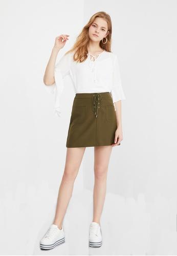 Hopeshow green A-Line Short Skirt 1231CAA80B9AF8GS_1