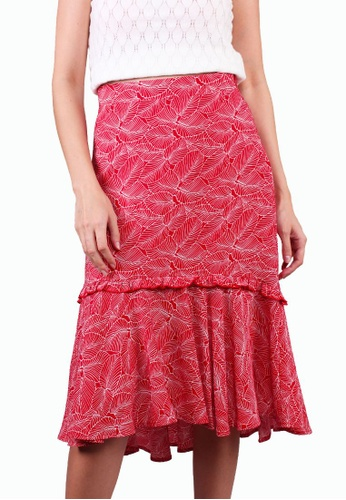 Elle red Printed Hi Low Ruffle Skirt - Red CF0A0AAB36F1D3GS_1