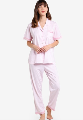 Impression pink Cotton Collared Shirt and Long Pants Set IM679AA52SFFMY_1