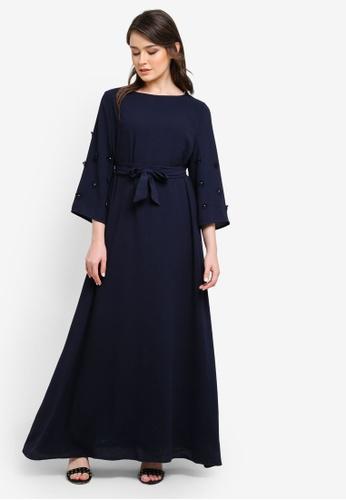 Zalia navy Floral Applique Dress D62A1AAD6656BAGS_1