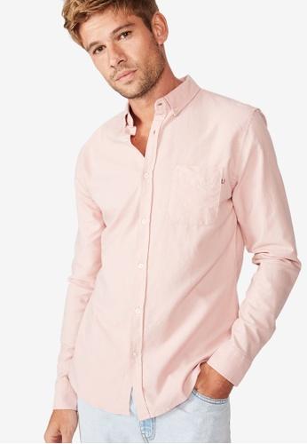 Cotton On 粉紅色 長袖口袋襯衫 21914AAAEA6C68GS_1