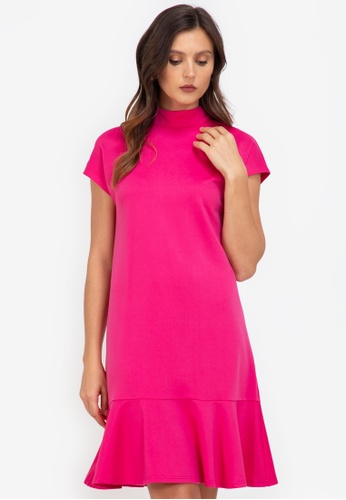 ZALORA WORK pink Mock Neck Fluted Hem Dress 3C9E2AA94057CDGS_1