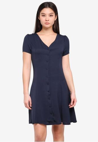 ICHI blue and navy Beech Dress ED004AACB00116GS_1