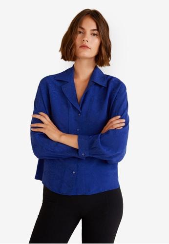 Mango blue Snake Shirt Blouse 7800EAA458811BGS_1