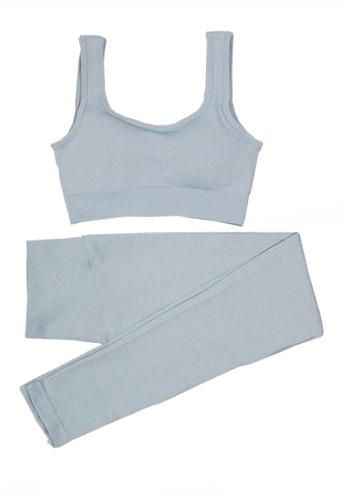 Twenty Eight Shoes blue VANSA Pure Color Vest Yoga Set  VPW-Y555 6B971AA61C6680GS_1