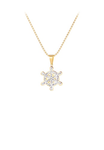 Glamorousky white Simple and Bright Plated Gold Snowflake 316L Stainless Steel Pendant with Cubic Zirconia and Necklace ACDB3AC53B0E58GS_1