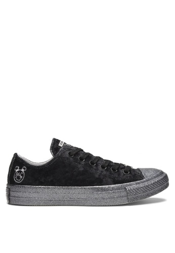 Converse black and silver Converse X Miley Cyrus Chuck Taylor All Star Lift  Velvet Ox Sneakers 835dcd0d7