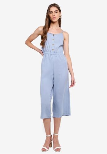 ZALORA 藍色 鈕釦細肩帶連身褲 43C14AA03CB4DDGS_1