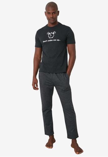 Trendyol 多色 Printed Knit Pajama Set EBA3DAA2D50182GS_1