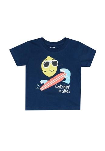 FOX Kids & Baby blue Short Sleeves Graphic Tee 34E60KA42D8437GS_1