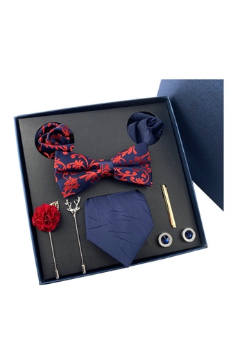 Kings Collection blue Bow Tie, Pocket Square, Brooch, Tie Clip 8 Pieces Gift Set (KCBT2072) CE41AAC34AF82DGS_1