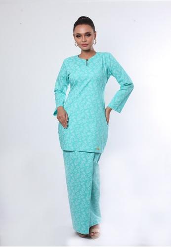 Kurung Pia from Rumah Kebaya Bangsar in Green and Blue