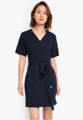 Dorothy Perkins navy Tie Waist Shift Dress DO816AA0ST02MY_1