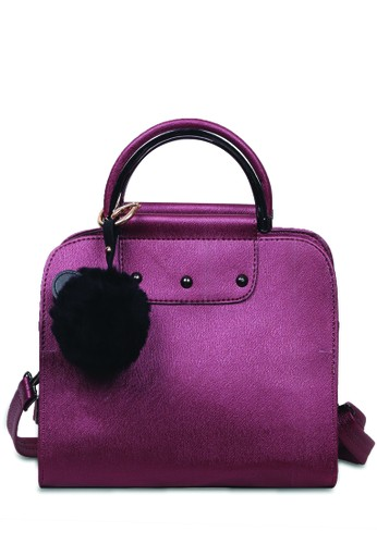 Quincy Label red Quincy Label - Tas Handbag Laure Free Pom-pom - Maroon 8E0F6ACBD78D4CGS_1