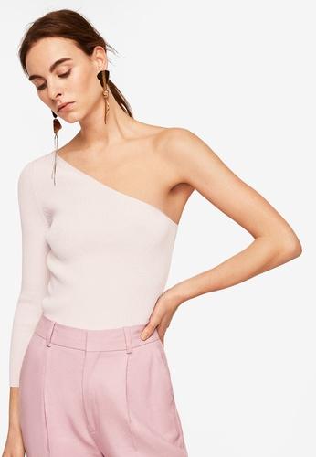 Mango pink Ribbed Asymmetric Sweater 3387DAAB2B1C4DGS_1