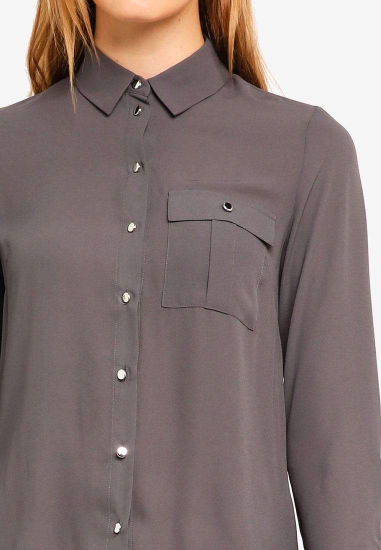Grey Grey Pocket Roll Shirt Dorothy Perkins Sleeve F5EqtFYw