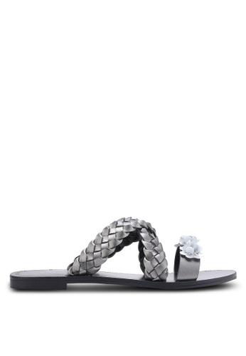 ZALORA silver Weaved Sliders with Embellishment 499B7SH65E7B41GS_1