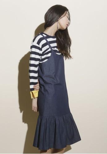 荷葉飾吊帶丹寧連身esprit 香港裙, 服飾, 洋裝