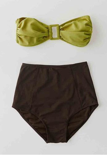 ZITIQUE green and brown Women's Retro Strapless High Waist Two-piece Swimsuit - Green and Brown AD3B7US87E718EGS_1