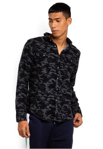 Brave Soul black Camo Long Sleeve Shirt A2D16AA32F755AGS_1