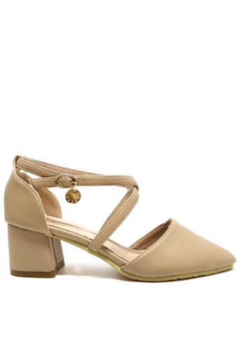 Twenty Eight Shoes beige Cross Strap Mid Heel 2.0 B34C6SH41E872AGS_1