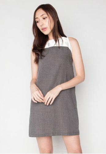 SALIENT LABEL grey Merlion Print Sleeveless Duchess Satin Panel Dress in Light Grey Rayon 34CE6AAF885C83GS_1