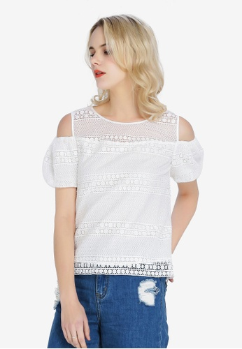 Hopeshow white Knitted Off Shoulder Blouse DE298AACC7D259GS_1