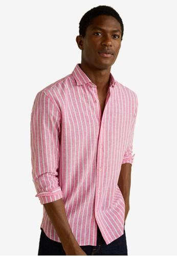 b1585af752 MANGO Man pink Regular-fit Cotton Linen-blend Shirt 40652AA98C971CGS 1