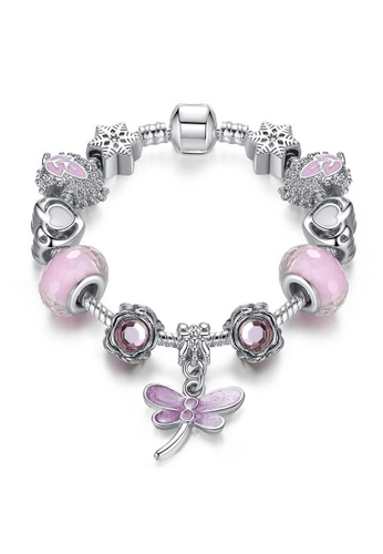 YOUNIQ pink and silver YOUNIQ Silver Pink Charm Bracelet with Dragonfly Dangle Crystal Beads Murano - 16cm DEF60AC755BD3EGS_1