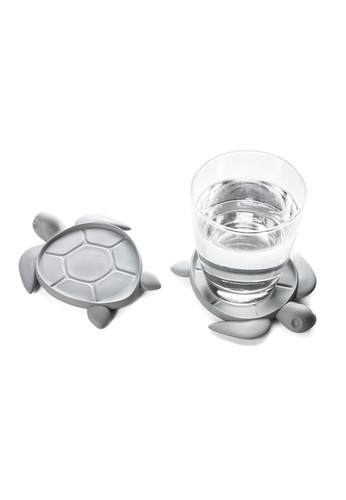 Qualy Save Turtle - coaster made from recycled plastic (Light Grey) 02E2CHLBB462BDGS_1