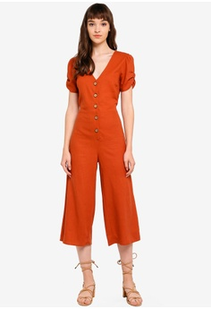 389e7e57ff7303 Miss Selfridge brown Petite Rust Linen Jumpsuit 0E98FAA4F30495GS 1