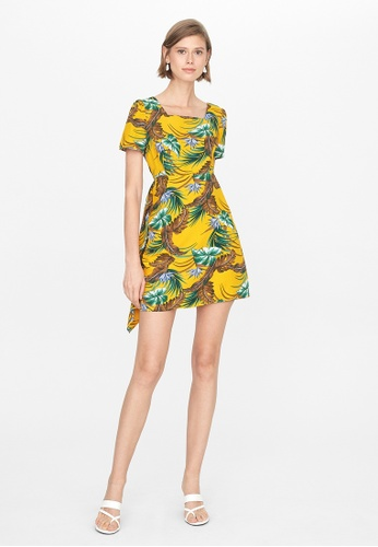 Pomelo yellow Mini Side Drape Dress - Mustard 47BCAAABB29D5BGS_1