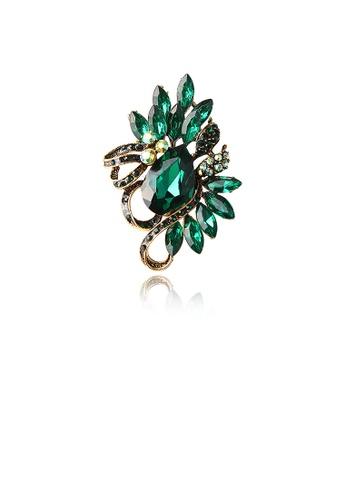 Glamorousky green Fashion Bright Plated Gold Geometric Green Cubic Zirconia Brooch C7DC6ACDCFE37DGS_1