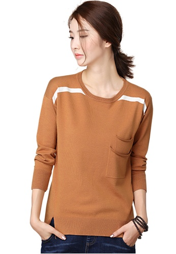 A-IN GIRLS brown Open The Pendulum And Hit The Color Sweater 54D9DAA1C03EFFGS_1