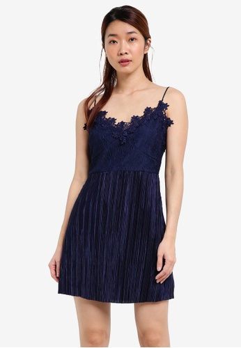 Something Borrowed navy Paneled Lace Fit And Flare Dress 320B8AA1C06E4BGS_1