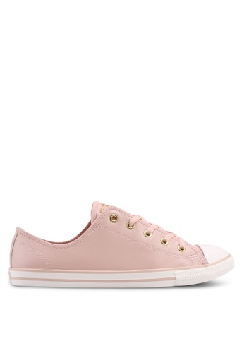 Converse pink and beige and gold Chuck Taylor All Star Dainty Sneakers 2BC42SHA352D09GS_1