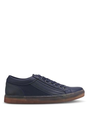 ZALORA navy Contrast Texture Sneakers AA09BSHF56DA2EGS_1